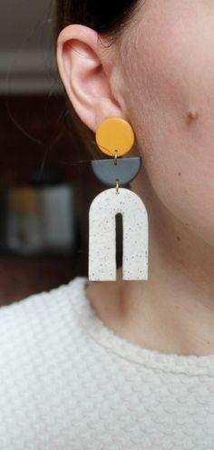 Statement Earrings, Hoop Earrings, Paint Strokes, Sensitive Ears, Handmade Items, Handmade Gifts, Minimalist Earrings, Polymer Clay Earrings, Earrings Handmade