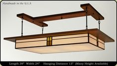 Our Prairie Style Fixture is the perfect lighting option for the kitchen, dining, billiard and living room of your house. This beautiful lighting fixture adds to the charm of every room in a house, and infuses an aura of elegance into your home. The delicate detailing on the handcrafted, stained glass surface of the light fixture is available in a variety of different colors to match your interior design needs.