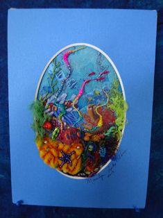 Coral Reef Fiber Art beach decor seascape coral reef art | Etsy Fish Cut Outs, Coral Reef Art, Felt Play Mat, Acrylic Panels, Halloween Fabric, Recycled Fabric, Vintage Quilts, Pattern Making, Fiber Art