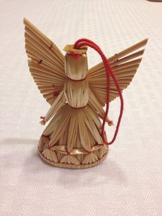 Vintage Swedish Straw Angel Christmas Ornament by lilibetdesign