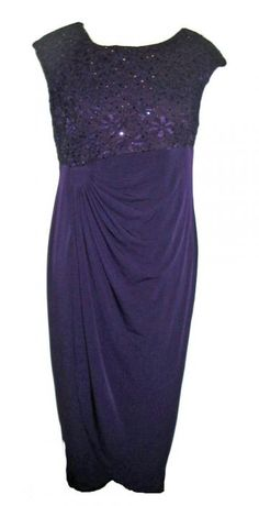 Connected Woman Purple Evening Dress with Empire Waist
