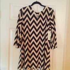 Black and Cream Chevron Dress Black and cream chevron dress never worn with tags. Brand new! Tacera Dresses Midi