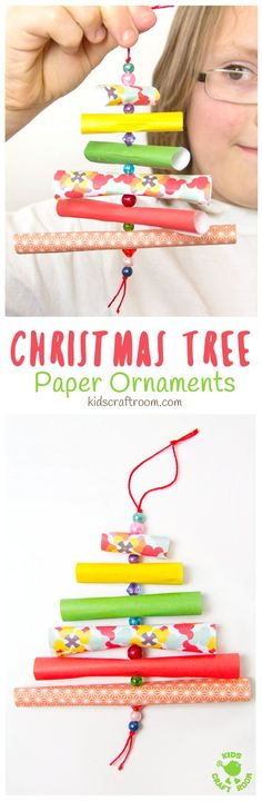 Adorable homemade easy paper ornaments in the shape of Christmas tree