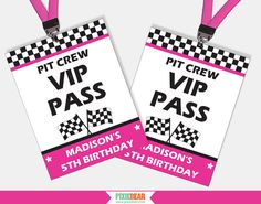 Race Car Birthday VIP Passes by PixieBearParty on Etsy #RaceCar #BirthdayParty