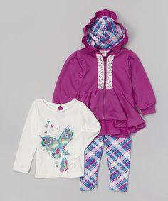 Loving this Purple Lace Peplum Zip-Up Hoodie Set - Infant, Toddler & Girls on #zulily! #zulilyfinds