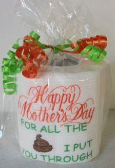 Custom made Embroidered Mother's Day Toilet paper gag gift by 3starmilitarymom on Etsy