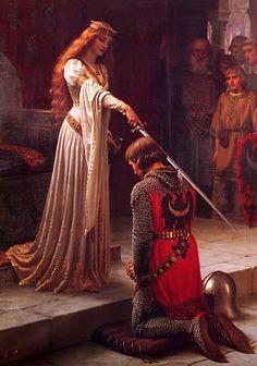 Ordenação de um Cavaleiro, por Edmund Blair Leighton, (1901) - Jovem sendo elevado à dignidade de cavaleiro