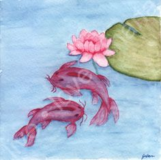 Koi Watercolor - 5 x 5  original paining ( 20.00 USD ) by livelovemaria