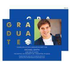Blue with Gold Foil Graduate Photo Graduation Invitations