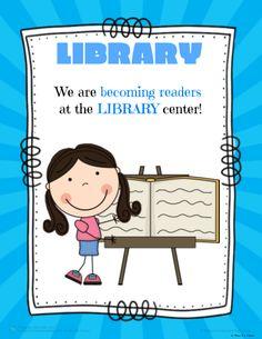 Pre-K Kinder Center Signs Preschool Library, Preschool Classroom Decor, Classroom Labels, Classroom Posters, Teaching Kindergarten, Daycare Crafts, Teaching Ideas, Classroom Ideas, Preschool Center Signs