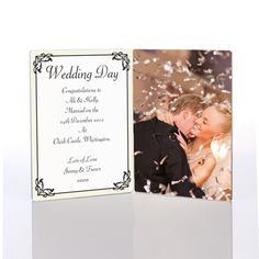 Our Wedding Day Photo Message Plaquedesign features any message of your choice set against a treasured photo of a special couple on their big day. This gift is a lasting and memorable keepsake to treasure for years to come.