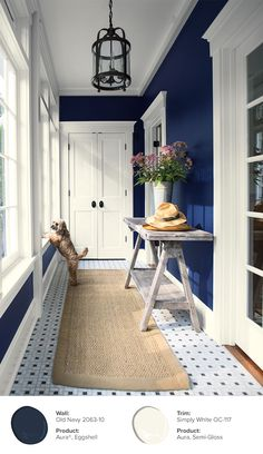 Old Navy and Simply White paired together, create a gorgeous contrast in this mudroom. With Benjamin Moore paint colors to choose from, youre sure to find your perfect pair. Room Colors, House Colors, Hallway Paint Colors, Best Blue Paint Colors, Blue Wall Colors, Navy Walls, Blue Rooms, House Painting, Mudroom