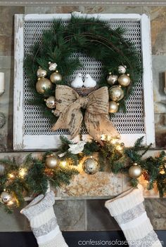 12 Christmas Wreath Tutorial and Mantel 12 days of Christmas tour ...confessionsofaserialdiyer