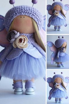 Butterfly doll Handmade doll Rag doll Bambole Textile doll Tilda doll Fabric doll Blue doll Puppen Cloth doll Baby doll by Master Oksana Z __________________________________________________________________________________________ Hello, dear visitors! This is handmade cloth doll created by Master Oksana Z (Ulyanovsk, Russia). All dolls stated on the photo are mady by artist Oksana Z. You can find them in our shop searching by artist name: https://www.etsy.com/shop/AnnKi...