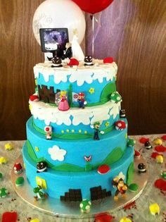 Super Mario Wedding Cake     Uploaded by Denise on Tuesday Oct 16 07:35:20 2012  Submitted into the November, 2012 Inkedibles Contest