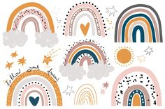 Rainbow Painting, Rainbow Art, Rainbow Things, Rainbow Pastel, Flower Svg, Flower Clipart, Forest Illustration, Graphic Illustration, Parking Spot Painting