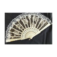 CREAM GOLD ROSE LACE HAND FAN FANCY WEDDING BRIDAL WOMEN GIRL DANCE... via Polyvore