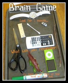 Free, easy brain game using stuff around you. Adjust for all brain levels from toddler to adult!