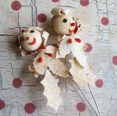 2 Vintage Winter Leaf Snowman Picks with Coconut Glitter Japan