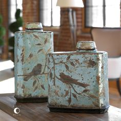These Ceramic Containers Feature A Distressed, Crackled Light Sky Blue Finish With Antiqued Khaki Undertones. Not Designed To Hold Liquids. Sizes: x x Materials Used: CeramicArtist: Billy Moon Pots, Bird Silhouette, Ceramic Jars, Tuscan Decorating, Objet D'art, Container, Antiques, Accent Furniture, Sales Tax