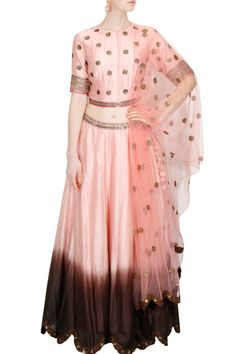 Light pink and brown ombre embroidered lehenga set Salwar Kameez, Anarkali, Lehenga, Pernia Pop Up Shop, Wearable Art, Ethnic, Tulle, Gowns, Pink