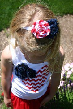 Chevron and Chiffon Flower Headband, 4th of July Headband, 4th of July Bow, Girls Headband, Flower Headbands, Shabby Chic Headband