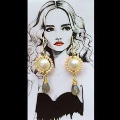 Handmade✋ #pgaccesorios #chapadeoro #handmadejewelry #aretes #earings #hechoamano #perlas #labradorita