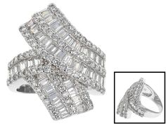 Bella Luce ® white diamond simulant baguette and round, rhodium over sterling silver ring. Measures approximately x and is not sizeable. The diamond equivalent weight is Diamond Rings Right Hand, Blue Diamond Jewelry, Jewelry Sets, Fine Jewelry, Man Made Diamonds, Diamond Simulant, Affordable Jewelry, Sterling Silver Rings, Jewels