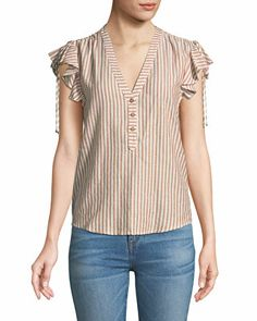 Shop Blakely Striped Flutter-Sleeve Top from Veronica Beard at Neiman Marcus Last Call, where you'll save as much as on designer fashions. Sleeve Designs, Blouse Designs, Balenciaga Top, Flutter Sleeve Top, Timeless Fashion, Veronica Beard, Blouses For Women, Tunic Tops, Plus Size Clothing