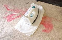 Easy way to remove stains, even old ones.  Instructions  1 Combine equal parts ammonia and water, or use Windex. If you use Windex, use clear or yellow solution. The blue solution should not stain the carpet, but watch it carefully. 2 Heat up an iron to the highest cotton setting. 3 Soak the stain with the solution of your choice. If the stain is large, work in small sections. 4 Place a white towel on the section you're cleaning. Do not use a colored towel, or the color may transfer to the ca... Diy Cleaners, Household Cleaners, Carpet Cleaners, Household Tips, Cleaners Homemade, Steam Cleaners, Household Products, Remove Stains, Cleaning Diy