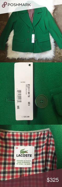 Lacoste Shamrock Green Wool Blend Coat Lacoste women's wool blend coat in a blazer style bright green. Size 38. Designed in France. Lines in red and blue plaid cotton print. Four front pockets and double breasted closure. Never worn, sits in closet with covering to protect it. Reasonable offers welcome. Lacoste Jackets & Coats