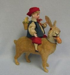RARE and Wonderful Antique German Bisque Doll on Rabbit Candy Container