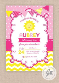 Birthday Invitation, You are my Sunshine style. Perfect for first party