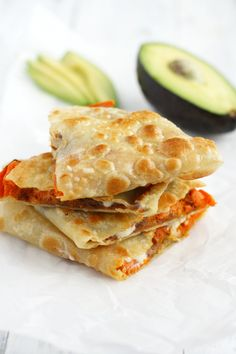 These roasted sweet potato and bean quesadillas are so tasty and filling. A great lunch or dinner option. Vegan and gluten free.