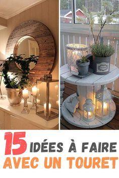 15 idées récup à partir d'un touret #decoration #diy Diy Décoration, Sweet Home, Table Decorations, Interior Design, The Originals, Crafts, Homedesign, Furniture, Palette