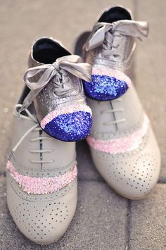 DIY decorative sparkle shoes - mom and daughter