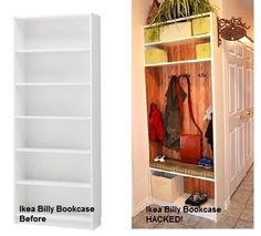 Using a Billy Bookshelf from Ikea, turn it into a place to hang coats, backpack, shoes, etc. at garage entrance. Garage, ideas, man cave, workshop, organization, organize, home, house, indoor, storage, woodwork, design, tool, mechanic, auto, shelving, car.