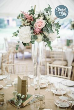 Wedding flower centerpieces. High floral vase, hydrangeas, rose, eucalyptus. 2013 Flashback » Rachel Lilly Photography