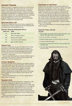 Warlock Patron: Ancient Vampire // Inspired by Bram Stoker's Dracula, serve as your patron's emissary to the day - Link to Homebrewery in comments - UnearthedArcana Dungeons And Dragons Classes, Dungeons And Dragons Characters, Dungeons And Dragons Homebrew, Dnd Characters, Warlock Class, Warlock Dnd 5e, Dnd Character Sheet, Character Bank, Character Design