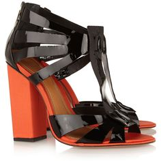 Schutz Two-tone patent-leather sandals ($140) ❤ liked on Polyvore featuring shoes, sandals, heels, 2 tone shoes, open toe shoes, schutz sandals, patent shoes and open toe sandals