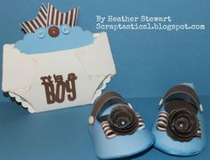 paper diaper card & baby shoes with Cricut Artiste from Close To My Heart by jewel