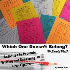 Grade Pre Algebra: Which One Doesn't Belong? Students will choose which item doesn't belong and explain their reasoning. Great for math journals, problems of the day, mini assessments, and more! Math Enrichment, Math Literacy, Math Classroom, Teaching Math, Math 8, Math Education, Homeschool Math, Guided Math, Teaching Strategies
