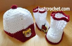 Free baby crochet pattern peaked cap and booties usa