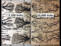 Lichtenberg Device For Fractal Wood Burning - YouT Wood Burning Crafts, Wood Burning Patterns, Wood Burning Art, Wood Burning Projects, Fine Woodworking, Woodworking Projects, Woodworking Techniques, Woodworking Articles, Youtube Woodworking