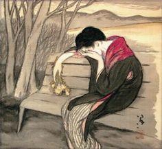 竹久夢二 「ある黄昏の幻想(宵待草)」