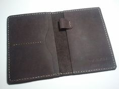 Personalized hand stitched leather passport case holder by jevons Leather Handbags, Leather Wallets, Leather Bags, Leather Bag Tutorial, Leather Folder, Leather Book Covers, Leather Passport Wallet, Canvas Wallet, Stitching Leather