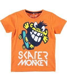 Name It grappig oranje t-shirt met gekke skater aap. name-it.nl.emilea.be