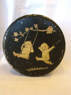 Vintage 1920s metal candy tin box
