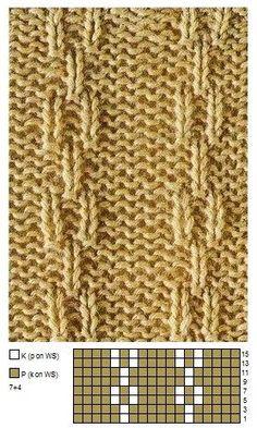 Resultado de imagen para ponto de trico chains pattern Knitting Charts, Easy Knitting, Loom Knitting, Knitting Designs, Knitting Patterns Free, Knitting Projects, Knitting Socks, Stitch Patterns, Tricot Simple