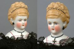 This exquisite Parian lady not only has the typical features you might desire -- a finely-modeled head and painted features, and overall condition --